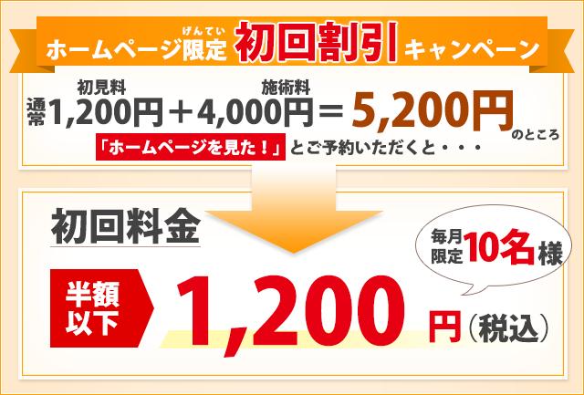 ホームページ限定初見料金1200円
